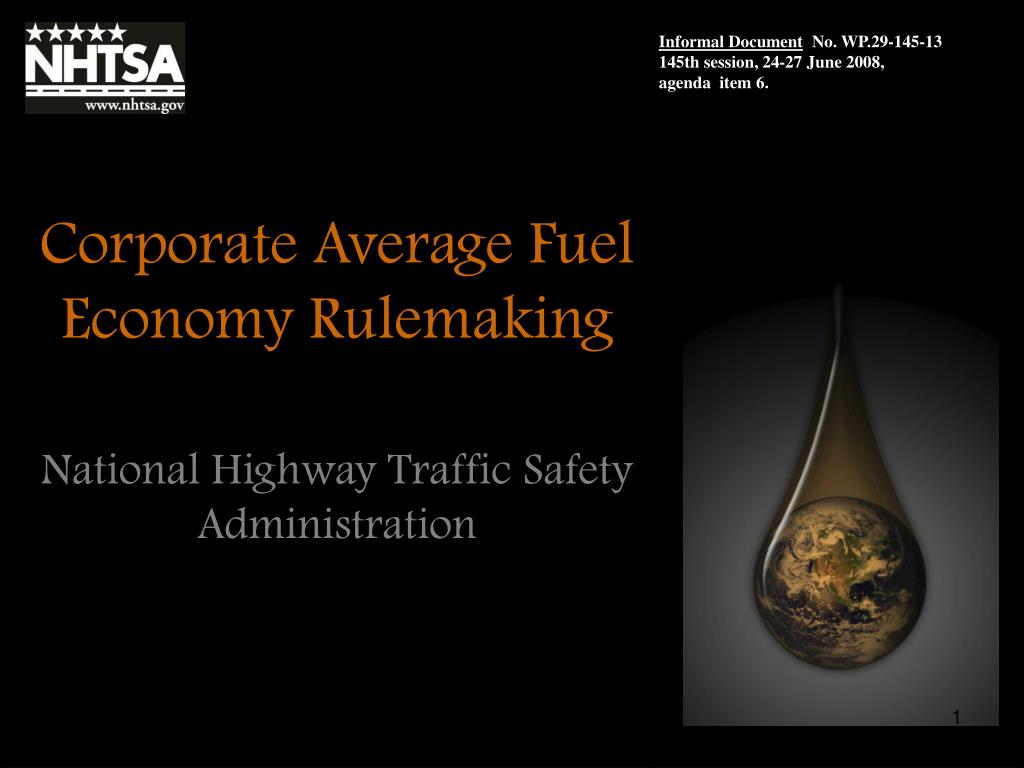 corporate average fuel economy rulemaking l.