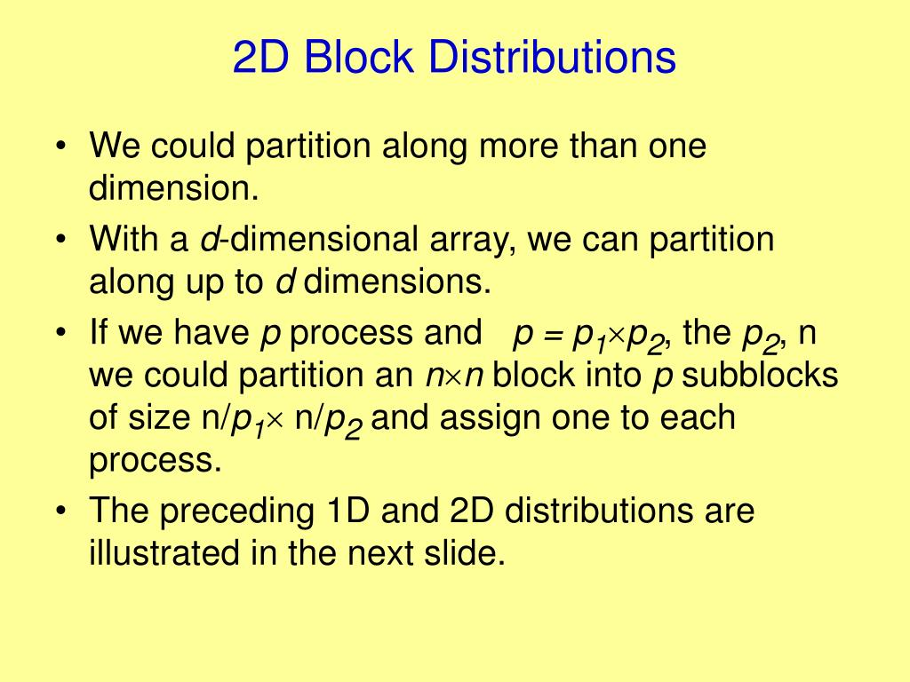 2D Block Distributions