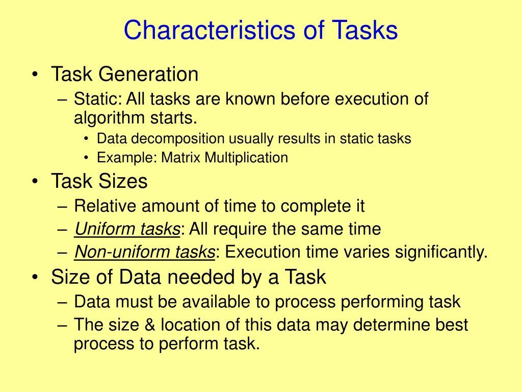 Characteristics of Tasks