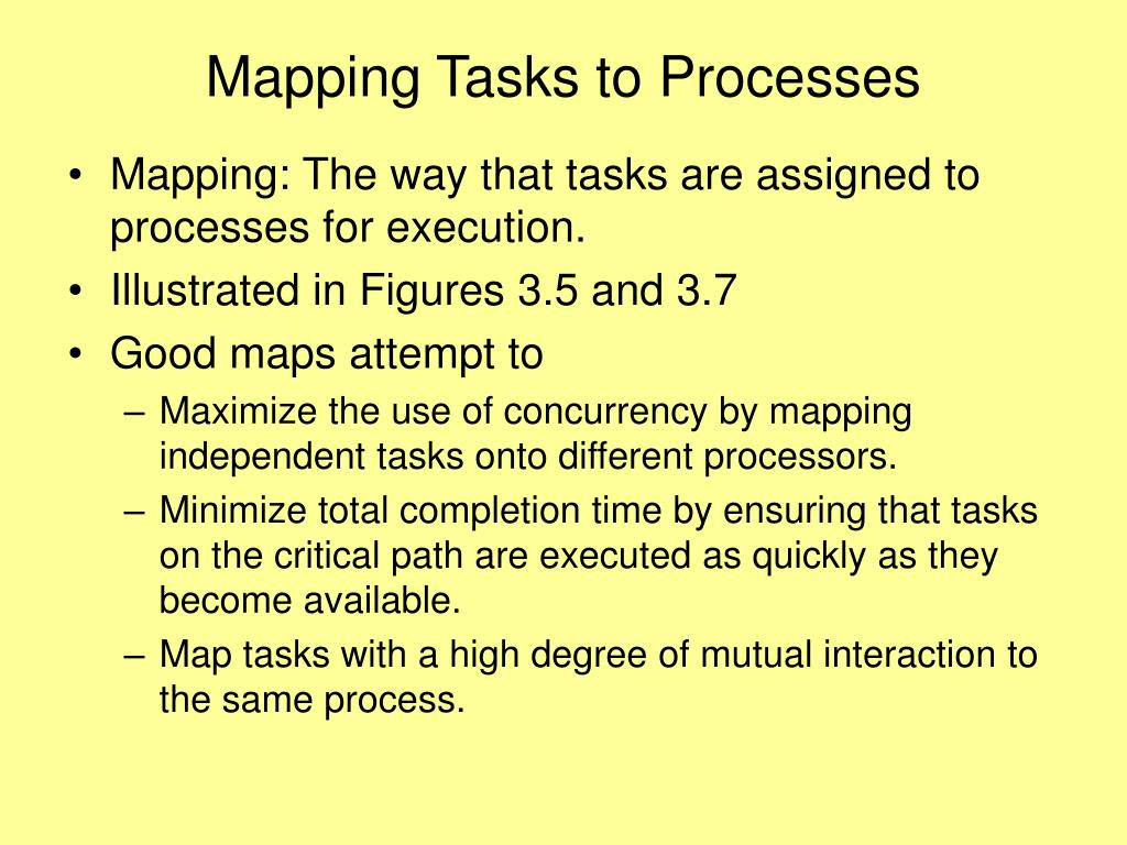 Mapping Tasks to Processes