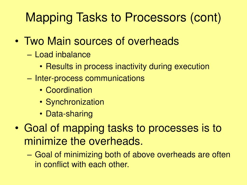 Mapping Tasks to Processors (cont)