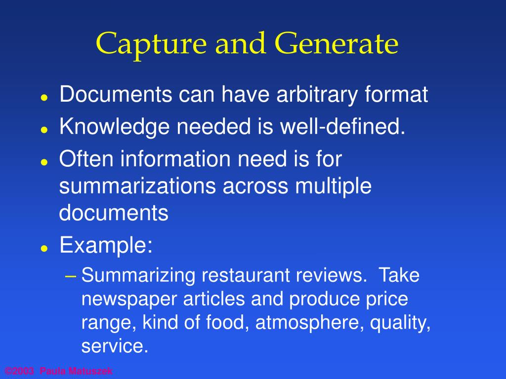 Capture and Generate