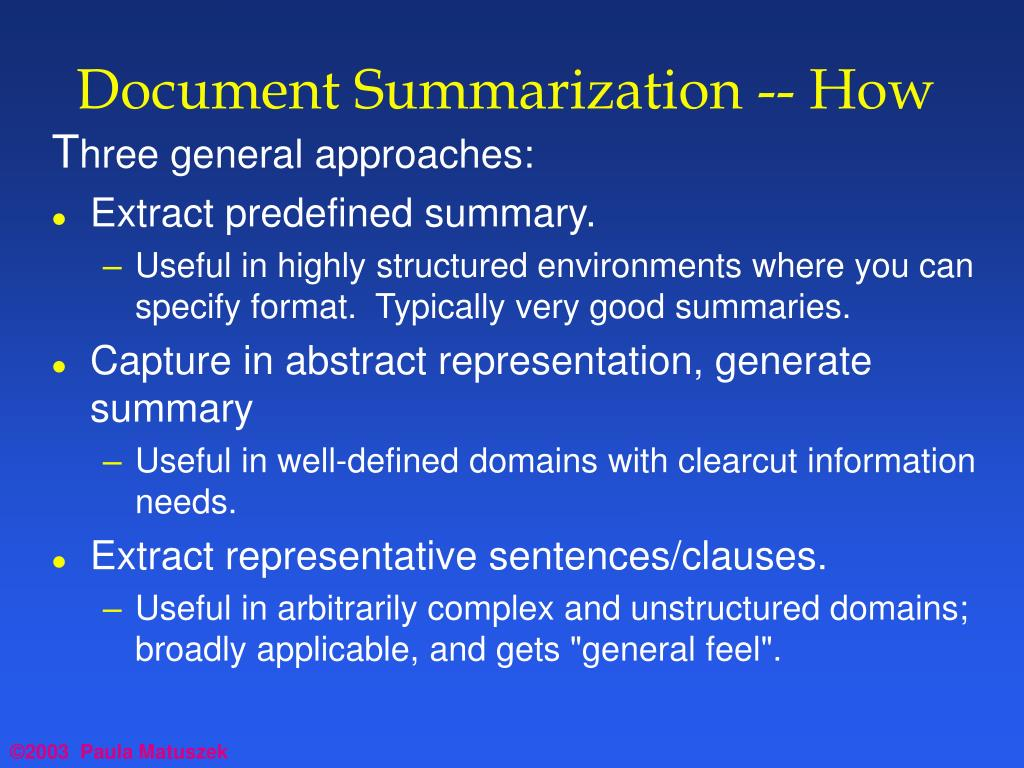 Document Summarization -- How