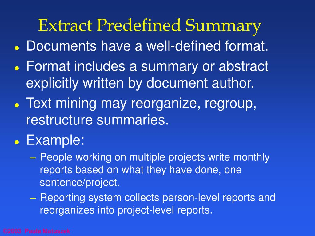 Extract Predefined Summary