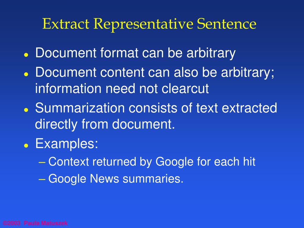 Extract Representative Sentence