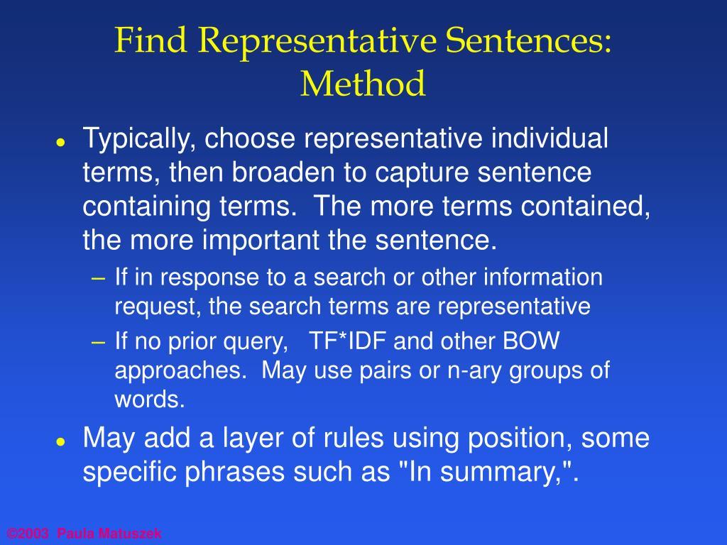 Find Representative Sentences:  Method