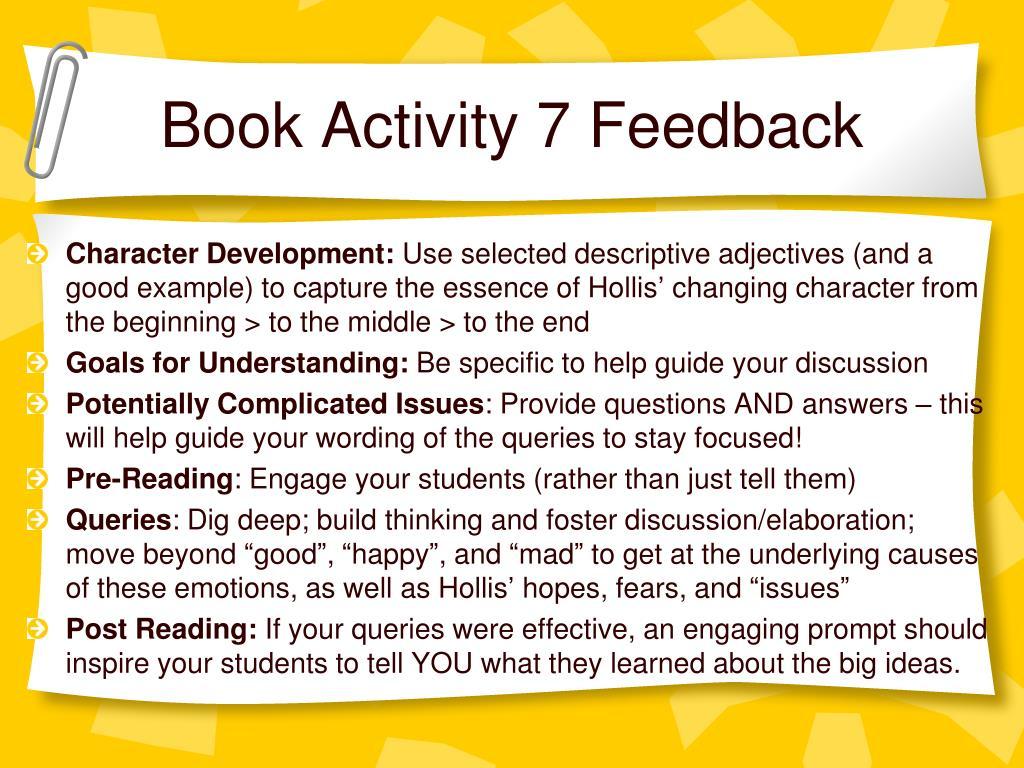 Book Activity 7 Feedback