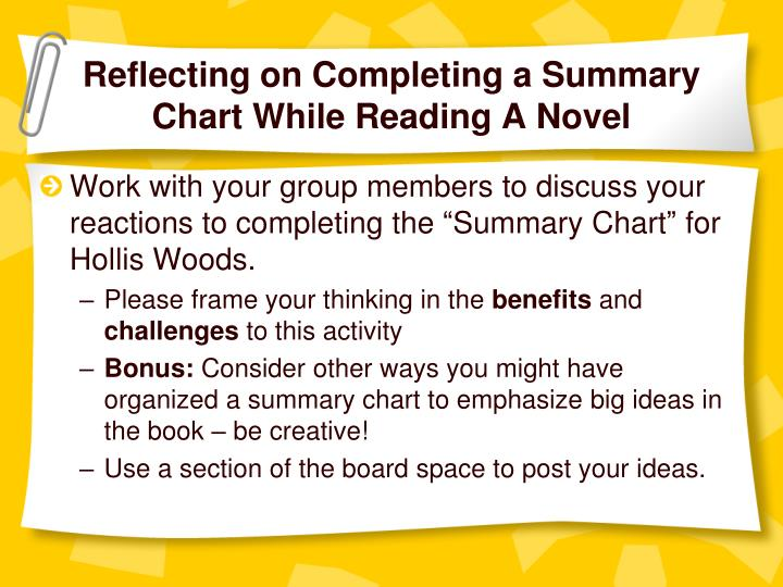 Reflecting on completing a summary chart while reading a novel