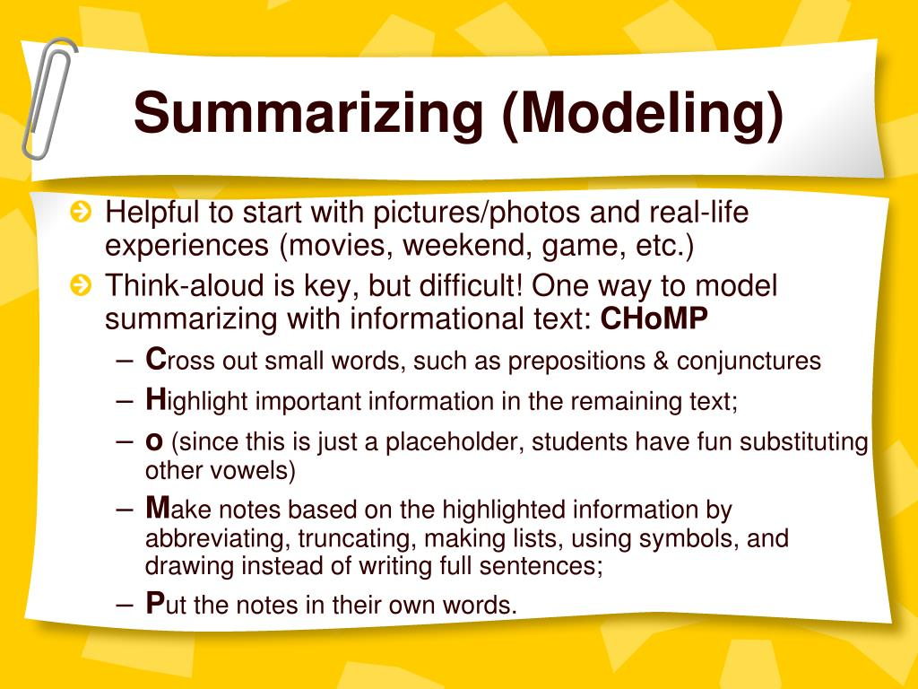 Summarizing (Modeling)