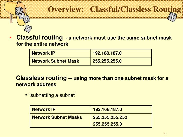 Overview classful classless routing