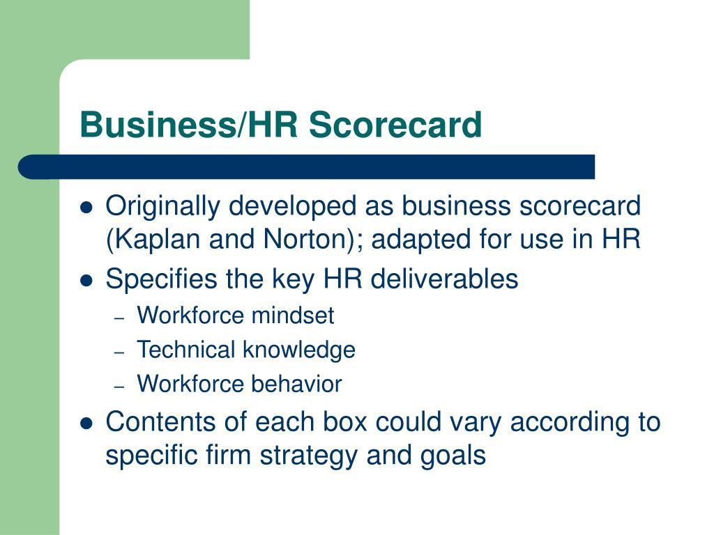 Business/HR Scorecard
