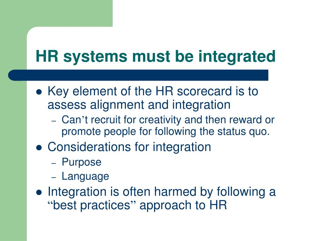 HR systems must be integrated
