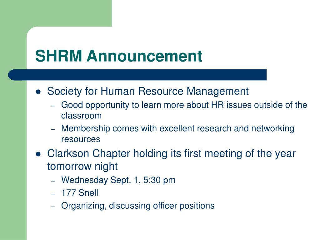 SHRM Announcement