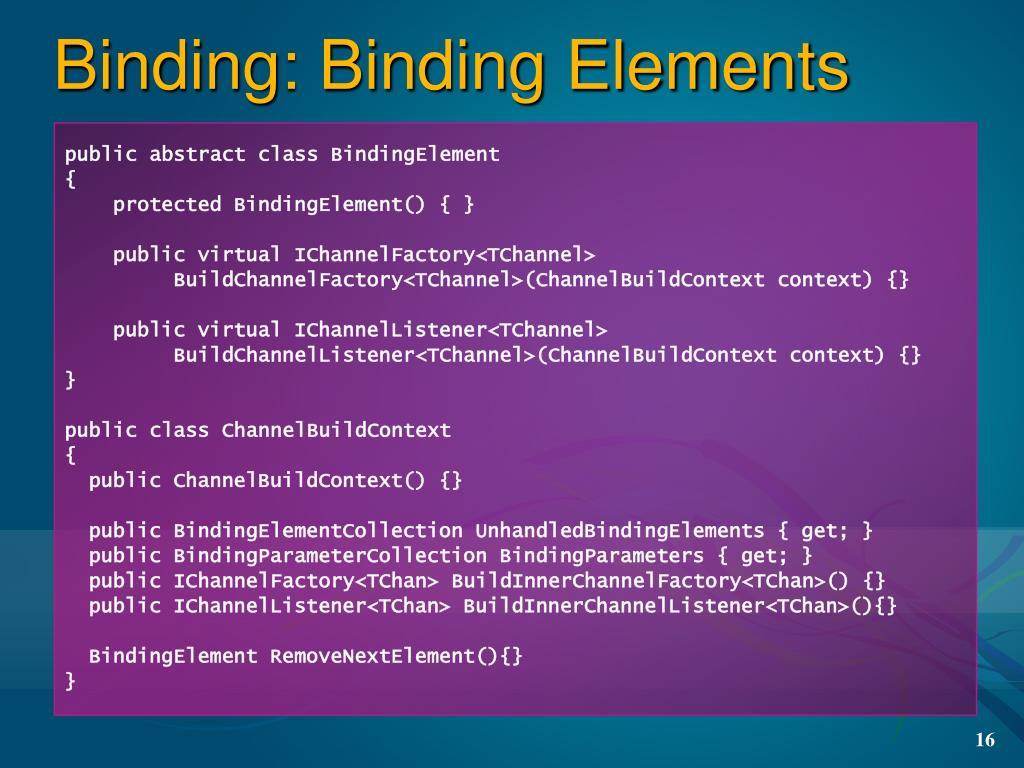 Binding: Binding Elements