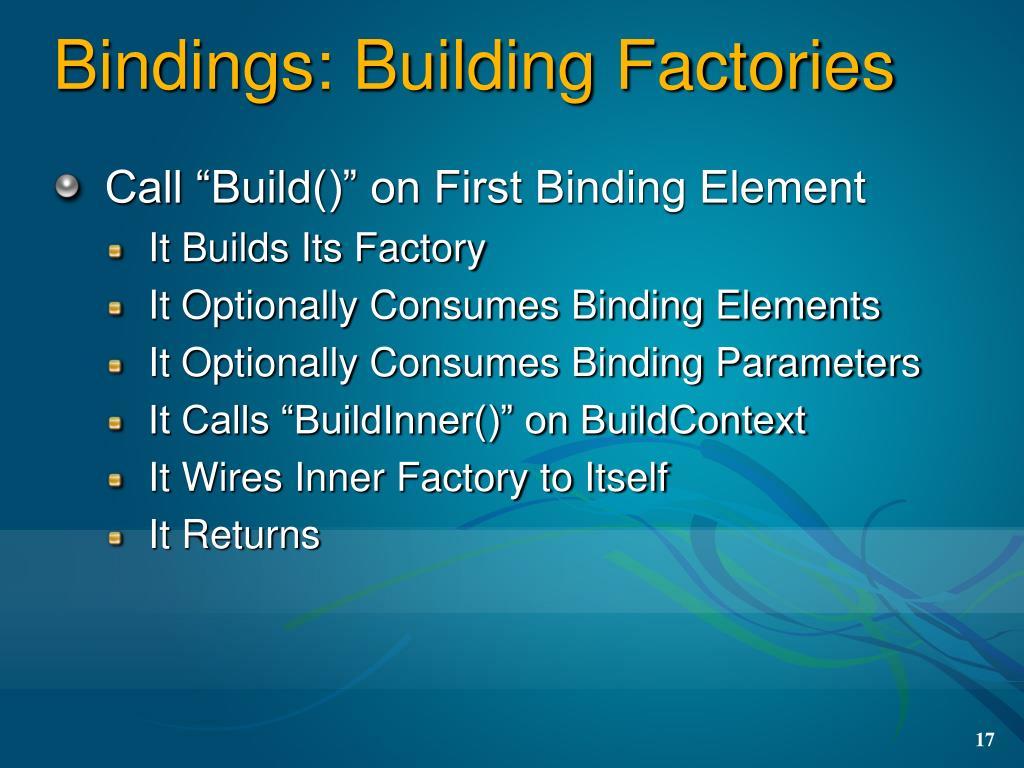 Bindings: Building Factories