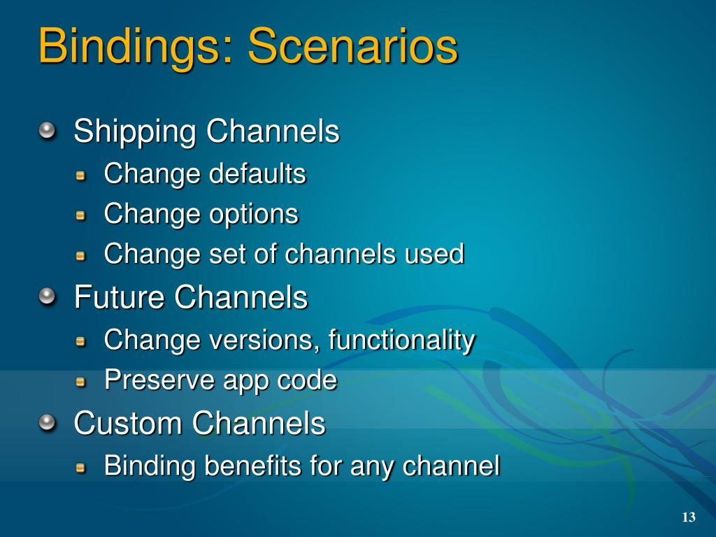 Bindings: Scenarios