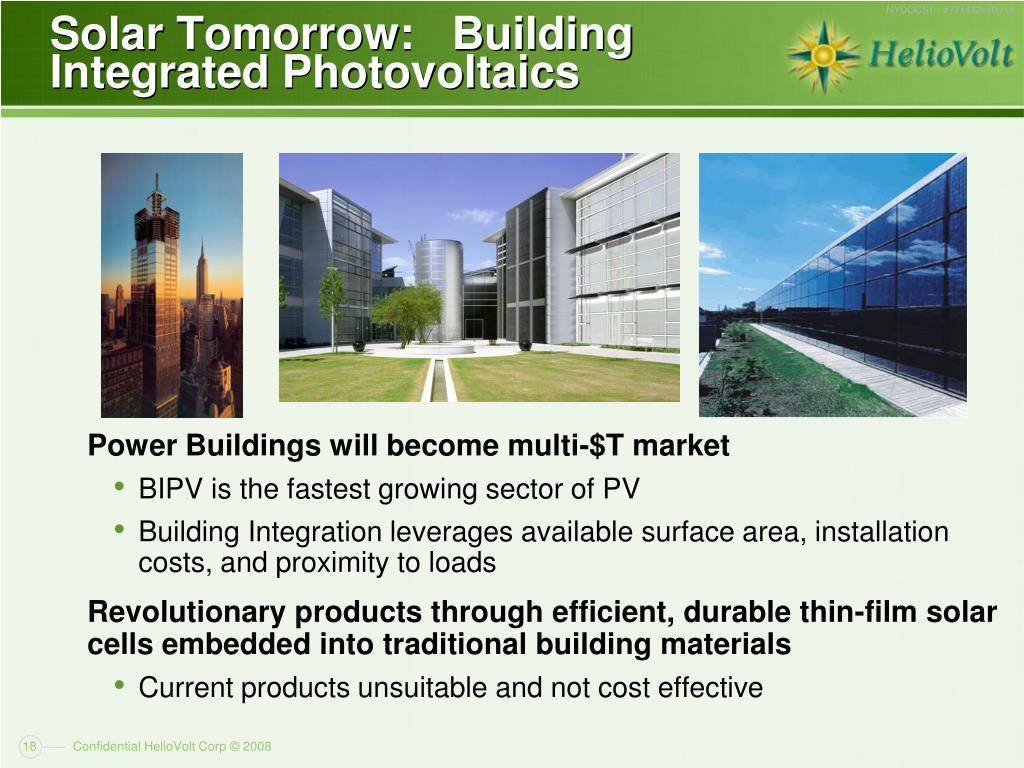 Solar Tomorrow:   Building Integrated Photovoltaics
