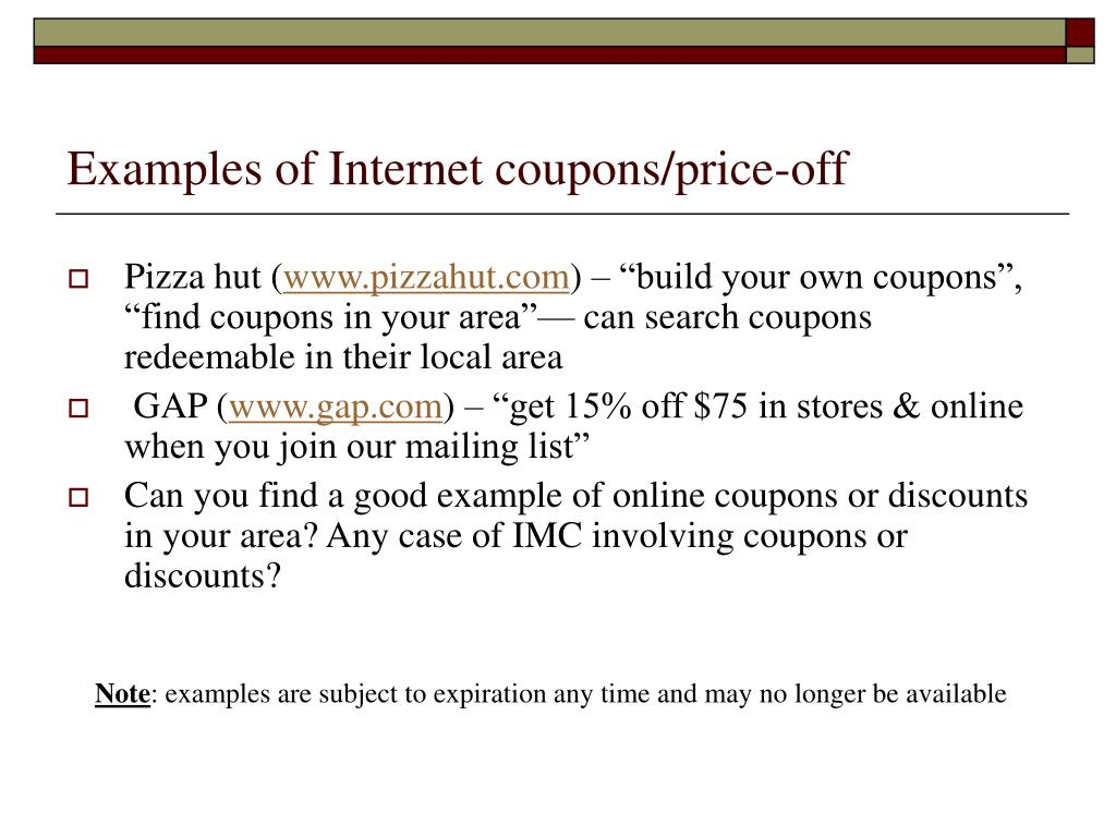 Examples of Internet coupons/price-off