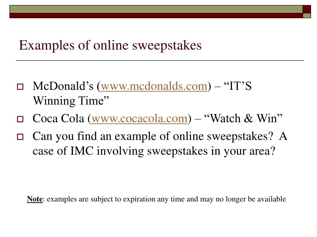 Examples of online sweepstakes