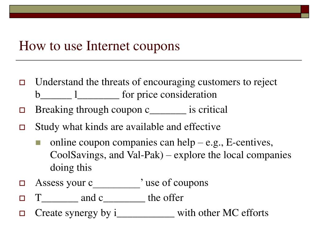 How to use Internet coupons