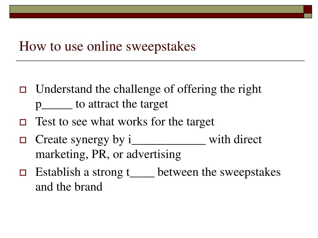 How to use online sweepstakes