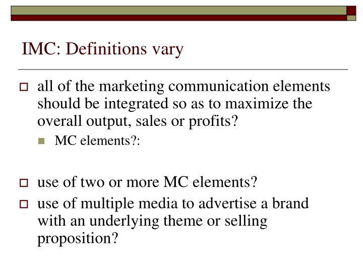 Imc definitions vary