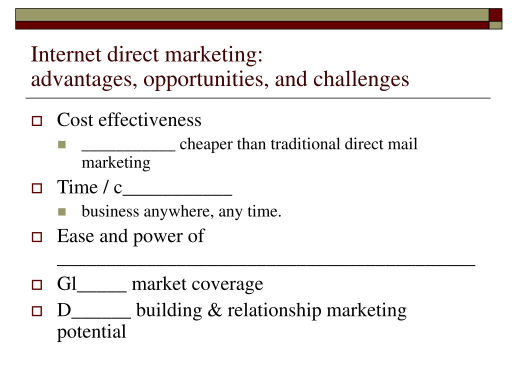 Internet direct marketing: