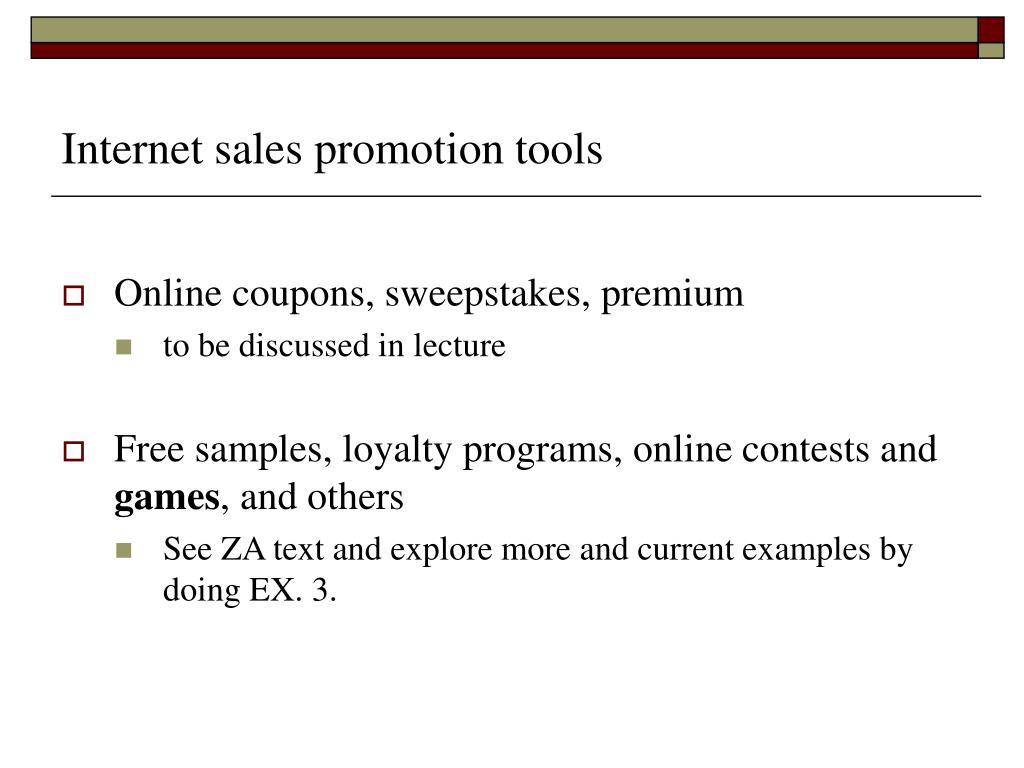 Internet sales promotion tools
