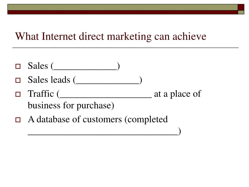 What Internet direct marketing can achieve