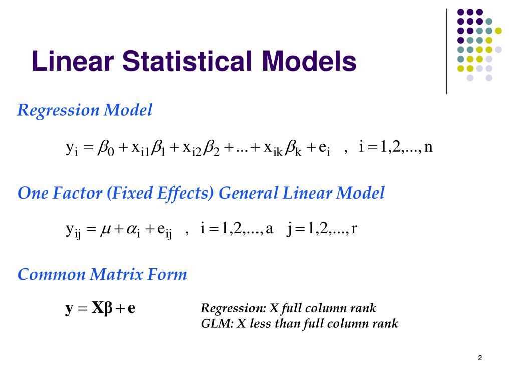 One Factor (Fixed Effects) General Linear Model