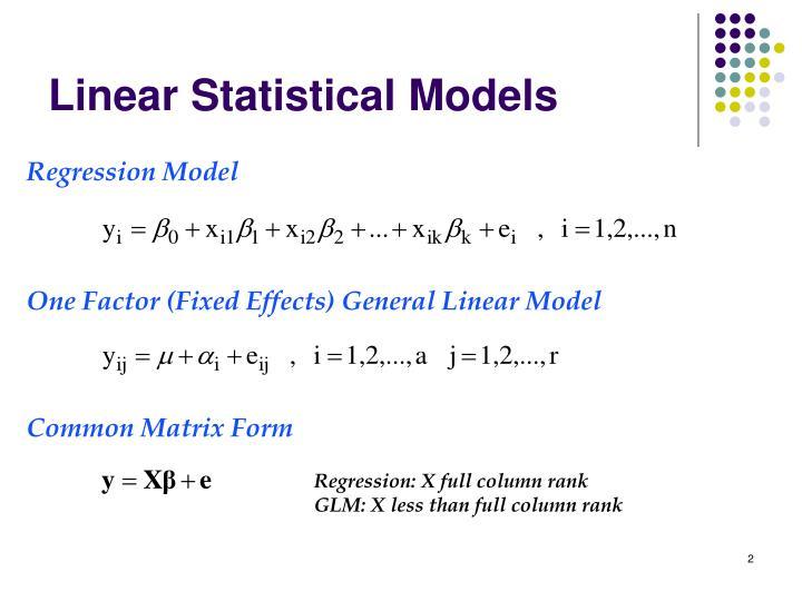 Linear statistical models