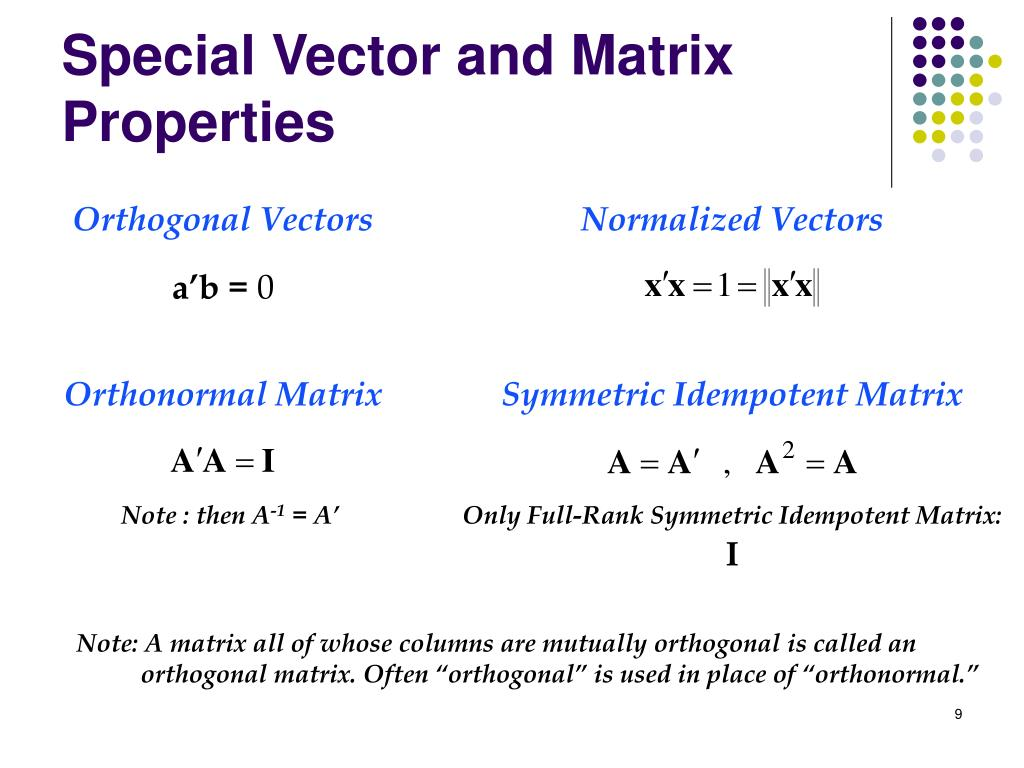 Orthonormal Matrix
