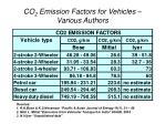 co 2 emission factors for vehicles various authors