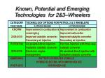 known potential and emerging technologies for 2 3 wheelers