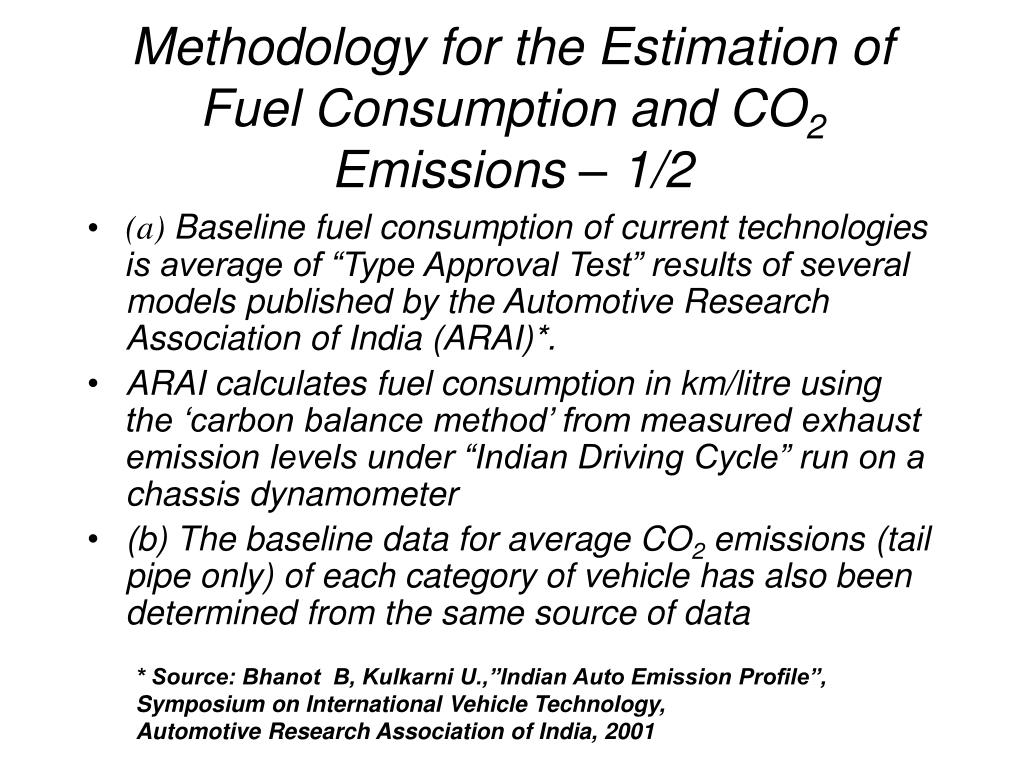 Methodology for the Estimation of Fuel Consumption and CO