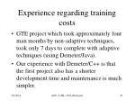 experience regarding training costs