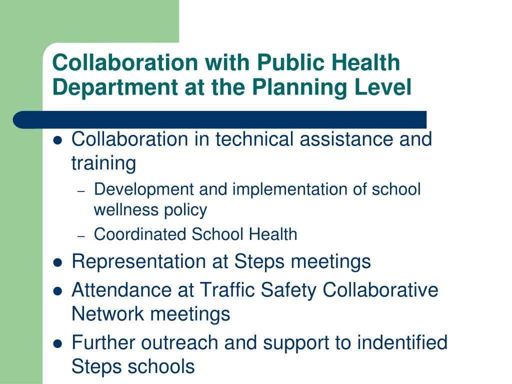 Collaboration with Public Health Department at the Planning Level