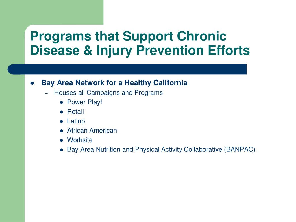 Programs that Support Chronic Disease & Injury Prevention Efforts
