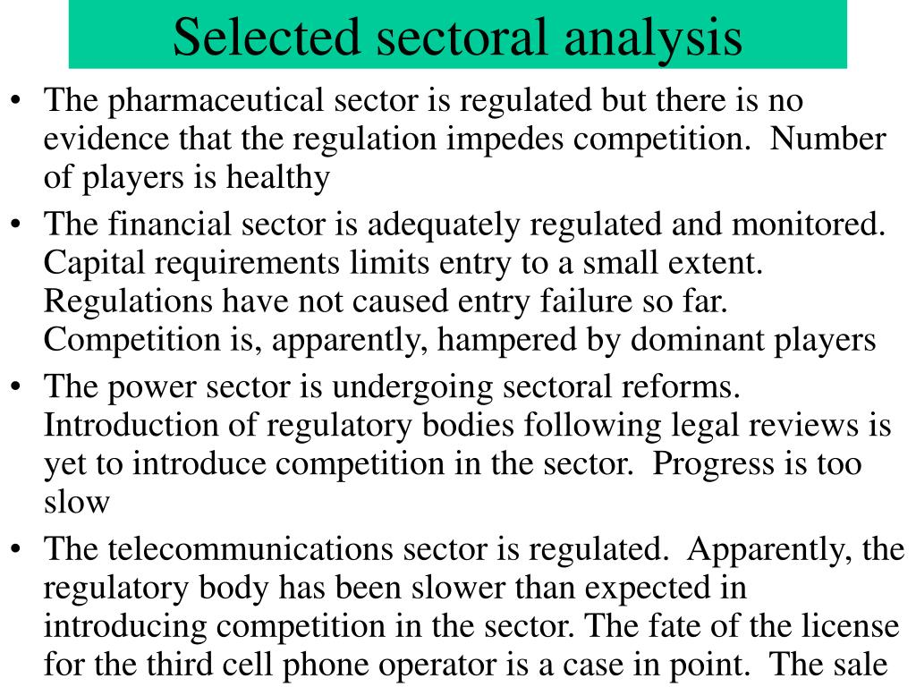Selected sectoral analysis