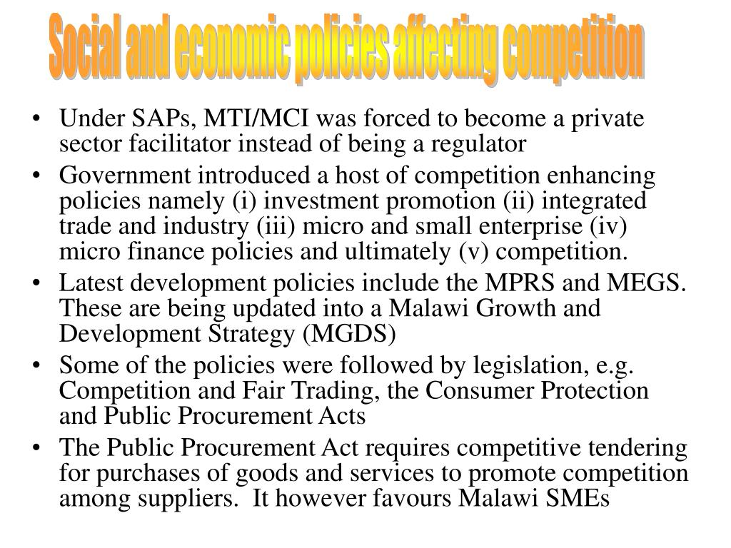 Social and economic policies affecting competition