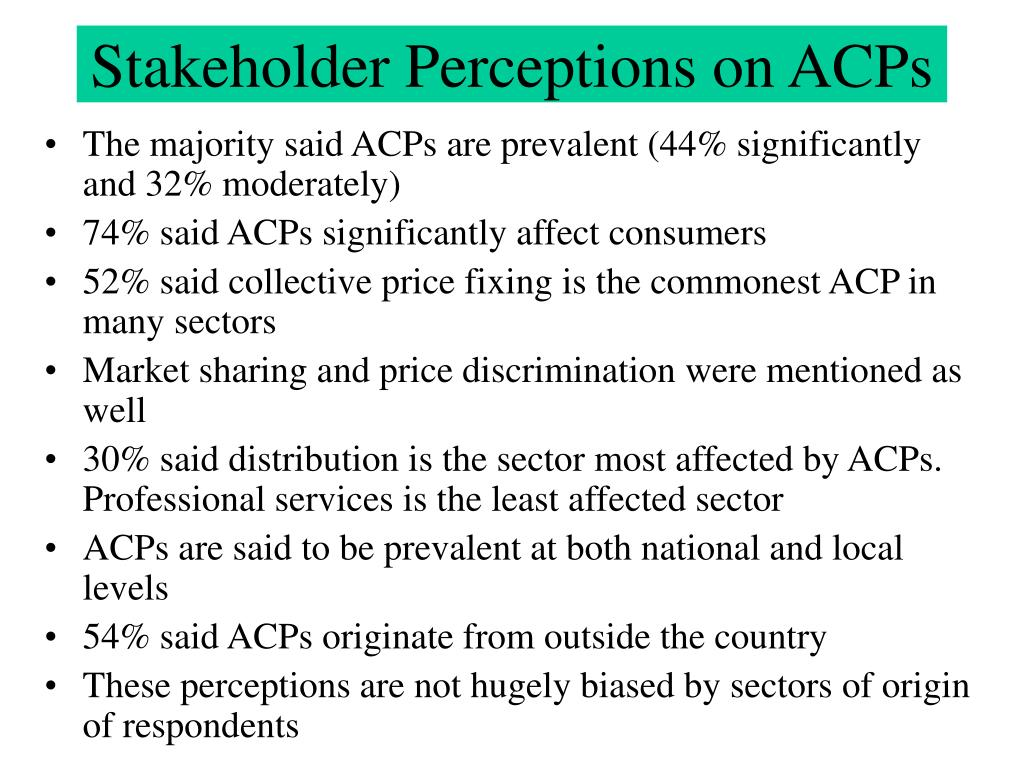 Stakeholder Perceptions on ACPs