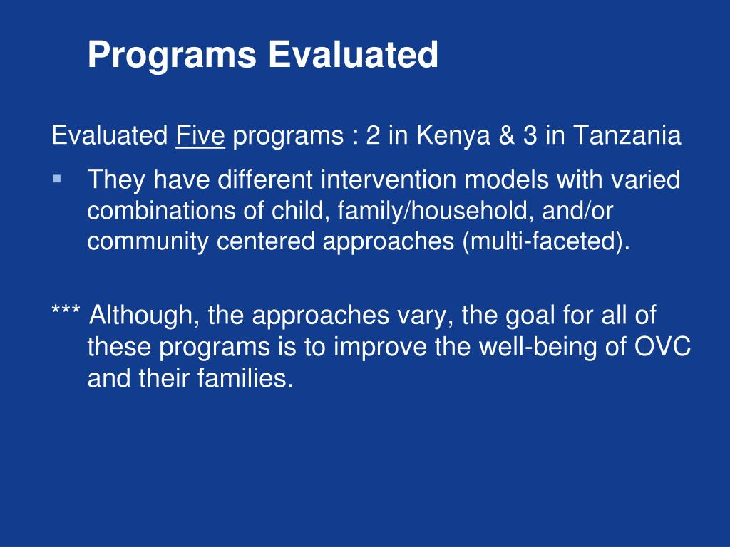 Programs Evaluated