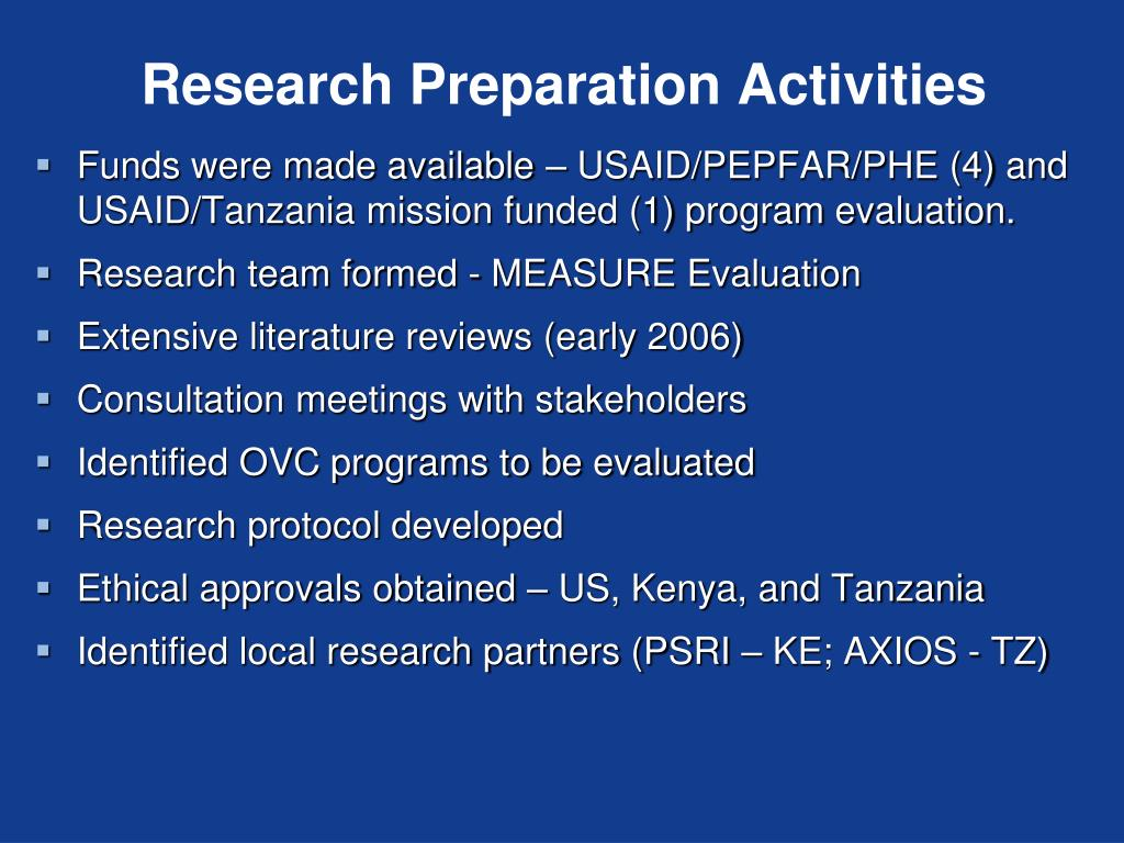 Research Preparation Activities