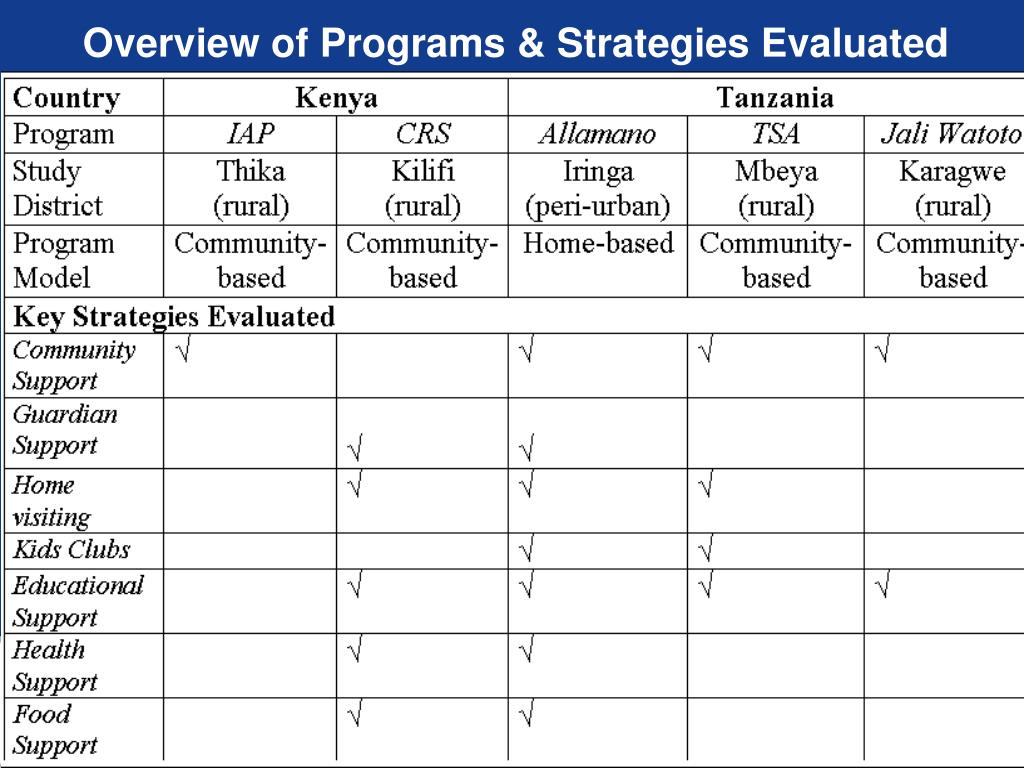 Overview of Programs & Strategies Evaluated