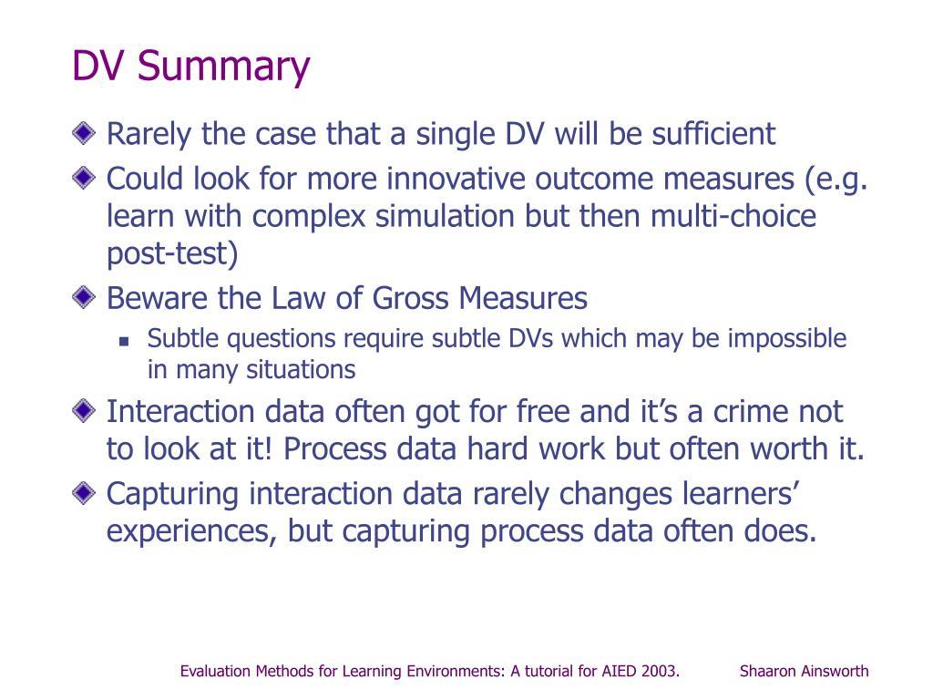 DV Summary