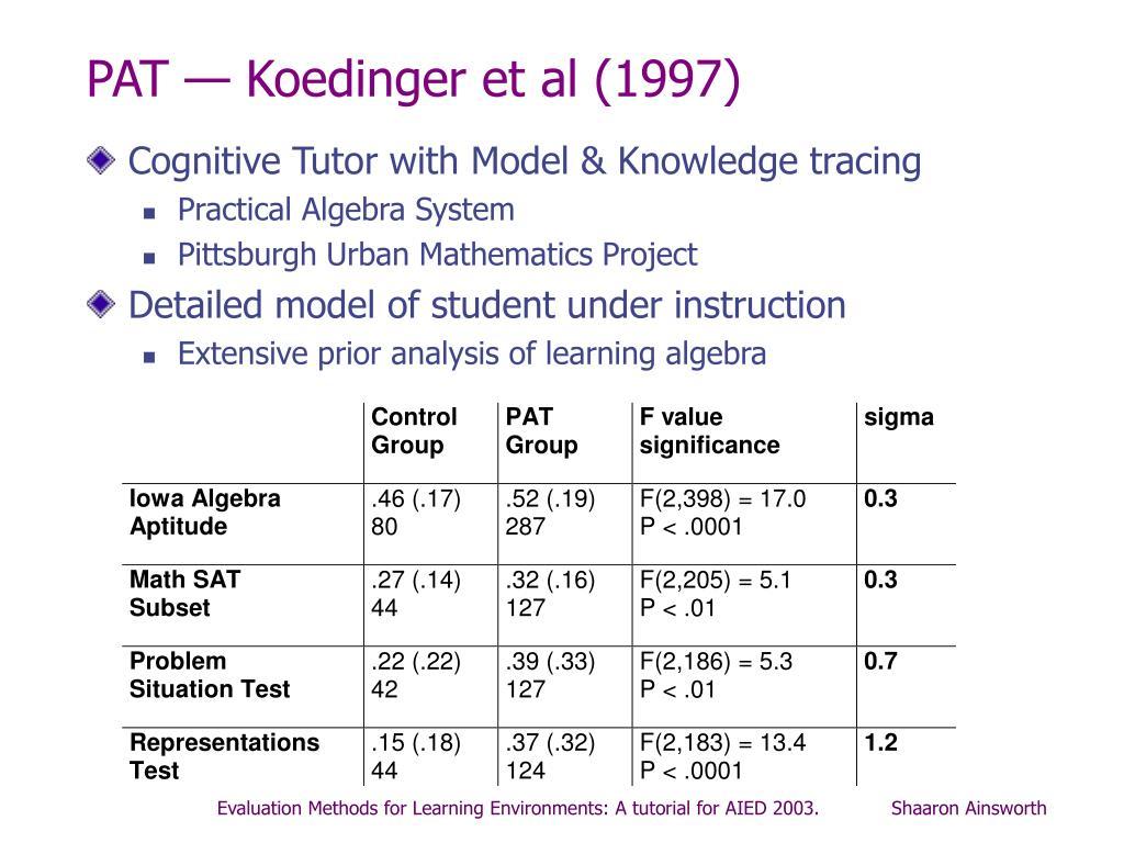 PAT — Koedinger et al (1997)
