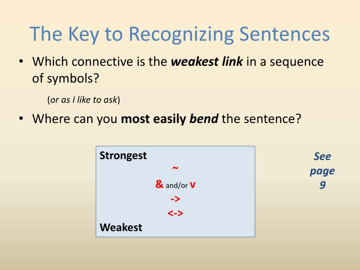 The Key to Recognizing Sentences