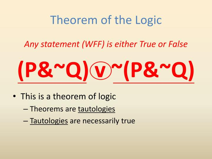Theorem of the Logic