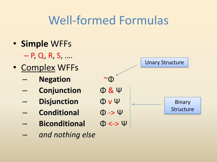 Well-formed Formulas