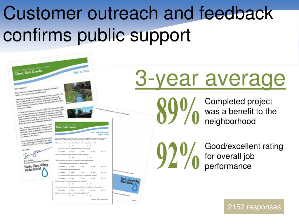 Customer outreach and feedback confirms public support
